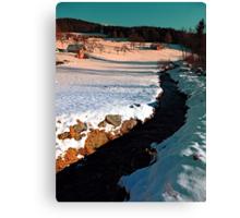 Black stream in winter wonderland   landscape photography Canvas Print