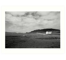 Scenic Donegal church in black and white Art Print