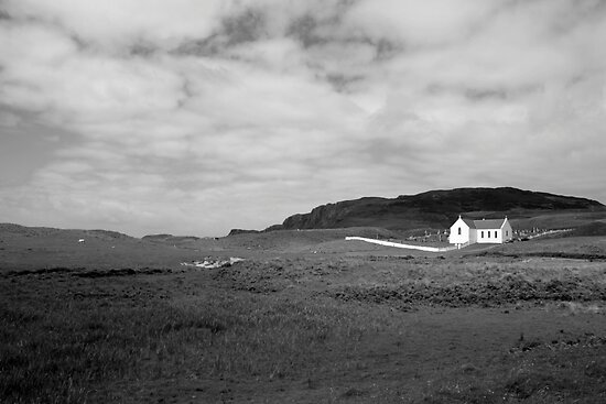 Scenic Donegal church in black and white by John Quinn