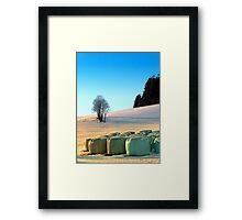 Hay bales in winter wonderland | landscape photography Framed Print