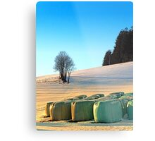 Hay bales in winter wonderland | landscape photography Metal Print