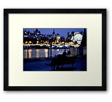 Bench, Lights, Lovers Framed Print