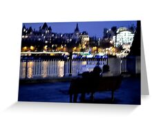 Bench, Lights, Lovers Greeting Card