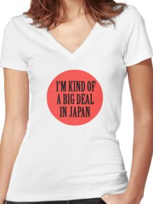 Big in Japan China Funny Cool Music Rock Pop Women's Fitted V-Neck T-Shirt