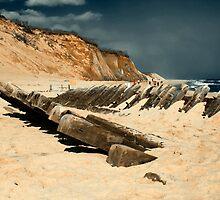 Cape Cod Shipwrecks 19 Century Schooner at Wellfleet Newcomb Hollow. by capecodart
