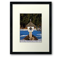 Wayside shrine in winter scenery | architectural photography Framed Print