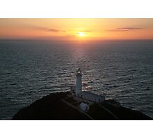 sunset south stack lighthouse-Anglesey. Photographic Print