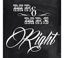 shabby chic vintage chalkboard scripts Mr and Mrs Photographic Print