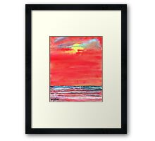 oil sun beach seascape painting Framed Print