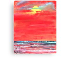 oil sun beach seascape painting Canvas Print