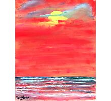oil sun beach seascape painting Photographic Print