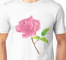 A stem pink rose on white Unisex T-Shirt