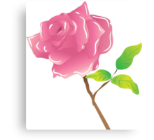 A stem pink rose on white Canvas Print