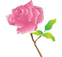 A stem pink rose on white Photographic Print