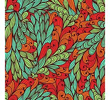 Red and blue bright doodle pattern Photographic Print