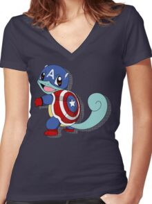 CaptainSquirtle Women's Fitted V-Neck T-Shirt