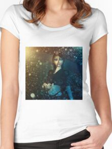 Girl in snowstorm Women's Fitted Scoop T-Shirt