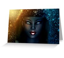 Girl in snowstorm 2 Greeting Card