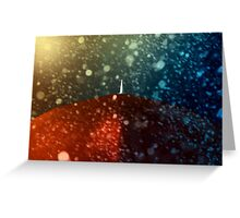 Red umbrella in snowstorm Greeting Card