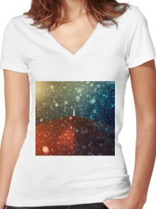 Red umbrella in snowstorm Women's Fitted V-Neck T-Shirt