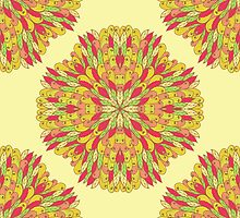Bright ornamental flowers by Patternalized
