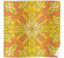 Yellow and green floral ornament Poster