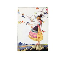 Birds and the bird lady vintage art Photographic Print