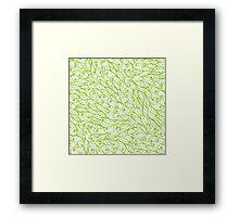 Green hand drawn doodle pattern Framed Print