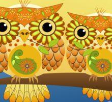 Spring flower power Owls on a branch Sticker