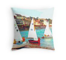 Yachts at Dawlish, Devon Throw Pillow