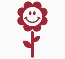 Red flower smiley One Piece - Short Sleeve