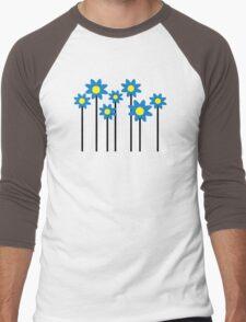 Blue flowers Men's Baseball ¾ T-Shirt