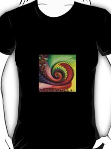 3d, BRIGHT, MULTICOLOR, FRACTAL, spiral shell, print, gift, decor T-Shirt