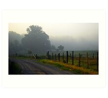 Foggy Pasture Fence Art Print