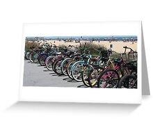 bikes on the boardwalk Greeting Card