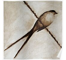 bird on a wire painting in browns Poster