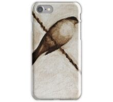 bird on a wire painting in browns iPhone Case/Skin