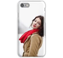 Beautiful brunette with hair blown by wind in the winter iPhone Case/Skin