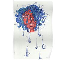 Red Face Girl Crying Poster