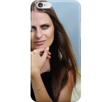 Beautiful woman in a mountain landscape iPhone Case/Skin