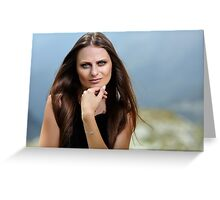 Beautiful woman in a mountain landscape Greeting Card
