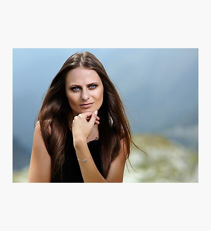 Beautiful woman in a mountain landscape Photographic Print