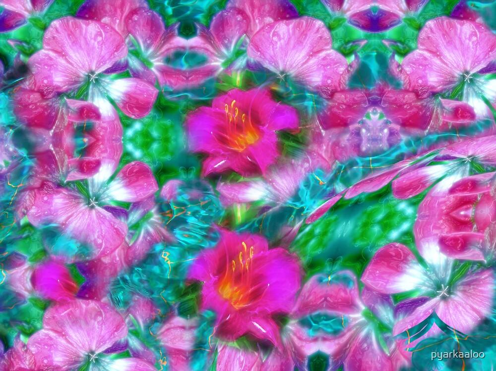 floralscape teal aqua water by pyarkaaloo