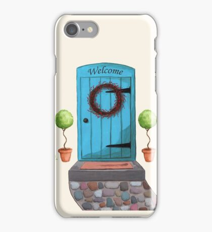 Welcome Blue Door and Stone Pathway iPhone Case/Skin