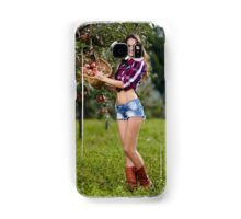 Beautiful woman picking apples Samsung Galaxy Case/Skin