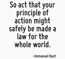 So act that your principle of action might safely be made a law for the whole world. by Quotr