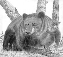 Black Bear and Cub - Charcoal by Gordon Pegler