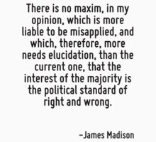 There is no maxim, in my opinion, which is more liable to be misapplied, and which, therefore, more needs elucidation, than the current one, that the interest of the majority is the political standar by Quotr