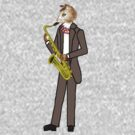 Male Cat playing Saxophone by Celinda