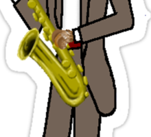 Male Cat playing Saxophone Sticker